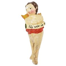 Antique Miniature Hand Carved and Painted Wood Angel  ca1850