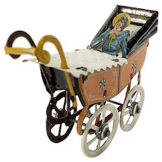 Antique German Tin Penny Toy Baby Buggy Carriage ca1910