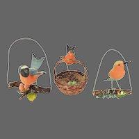 Antique Victorian Flocked Paper Mache Bird Christmas Ornaments Set of 3 ca1880