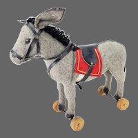 Antique German Near Mint Steiff Donkey Pull Toy ca1910