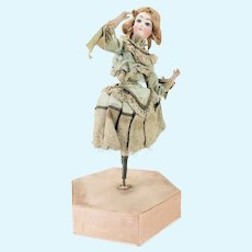 Antique Rare Spinning French Bisque Character Doll on Candy Container ca1890