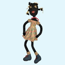 Antique Folk Art Black Americana Yarn/Cloth Doll ca1920