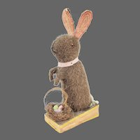 Antique German Easter Rabbit Bunny Squeak Toy with Moving Ears ca1910