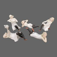 Antique German Bisque Bathing Lady Set of Five ca1910
