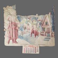 Antique Die Cut Christmas Calendar with Santa ca1919