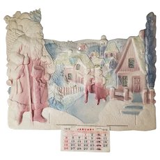 Antique Die Cut Christmas Calendar with Santa ca1919