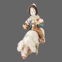 Antique German Bisque Head Clown Riding Large Pig Candy Container ca1910