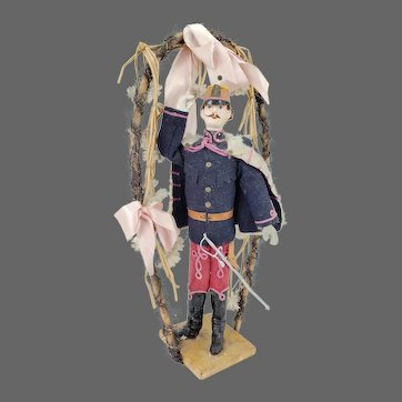 Antique Early French Painted Paper Mache Soldier