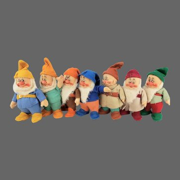 Vintage Chad Valley Snow White & the Seven Dwarfs Set of 7 dwarfs ca1930