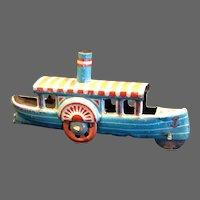 Antique German Penny Toy Tin Steamboat