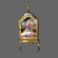 Antique French or Viennese Enameled Miniature Curio Case