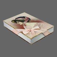 Antique Printed Archie Gunn Woman in Bonnet Candy Box ca1910