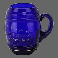 Antique Victorian Cobalt Blue Glass Mug with Painted Christmas Motif ca1893