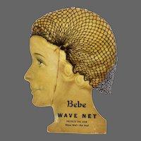Vintage Art Deco Hair Net Advertising Display Bebe Wave Net ca1920