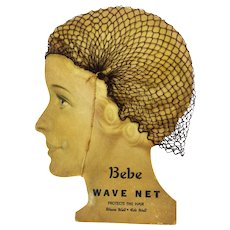 Vintage Art Deco Hair Net Advertising Display Bebe Wave Net ca1920