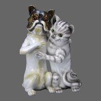 Antique Large Porcelain Dog and Cat Bank
