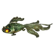 Antique Large Chinese Silver Enameled Green Articulated Koi