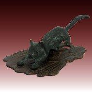 Antique Cast Bronze Cat Paper Clip ca1910
