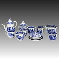 Victorian Blue Willow Childs Doll Tea Set ca1880
