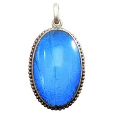 French Morpho Butterfly Wing Antique Victorian Pendant Charm