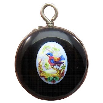 Bird Scene Enamel Antique Art Nouveau Pocket Watch Locket Pendant