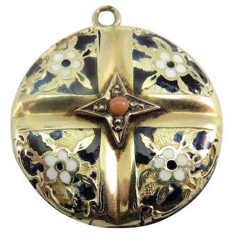 9k Enamel & Coral Antique Victorian Art Nouveau Locket Pendant