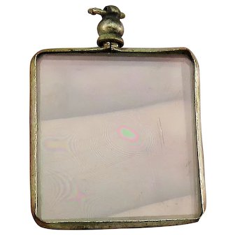 Unusual Square Open Glass Faced French Antique Victorian Locket Pendant