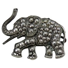 Marcasite Elephant Vintage Brooch Pin