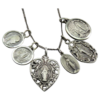 1915 Religious Antique Victorian Medal Set on Silver Necklace Chain
