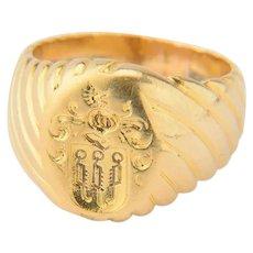Family crest signet ring 14 karat yellow gold rippling motif shank