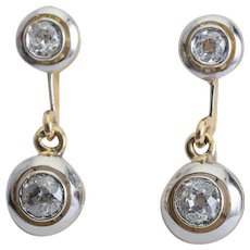 Antique 0.80 cwt diamond drop earrings 18 k yellow and white gold