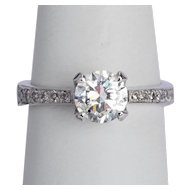1.25 cwt F Color diamond ring 18 karat white gold