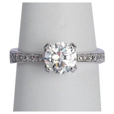 1.25 cwt F Color diamond ring 18 karat white gold