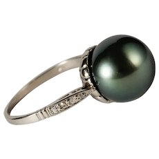 Art Deco Black Tahitian pearl diamond ring Platinum circa 1930