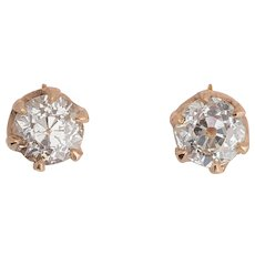 Antique 2.00 cwt diamond stud earrings pinkish gold 18 k circa 1910