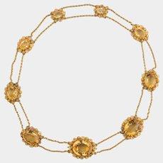 Antique Georgian important Citrine necklace 18 k multi color gold circa 1820-30
