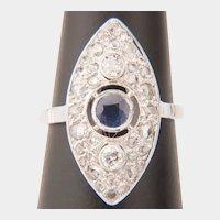 Diamond Ceylon Sapphire ring 18 k white gold circa 1935