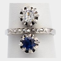 Cross-Over Sapphire Diamonds ring circa 1918