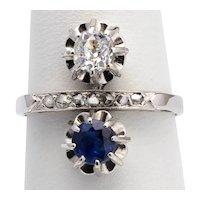 Cross-Over Sapphire Diamonds ring circa 1918