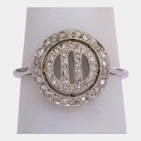 Antique Art Deco diamond ring 18 k white gold platinum circa 1920 s