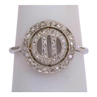 Antique Art Deco diamond ring 18 k white gold platinum circa 1920 s