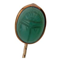 Antique stick pin Chrysoprase Beetle / Scarbee  12 k yellow gold