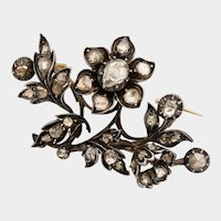 Georgian diamond flower spray brooch