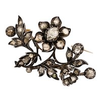 Georgian diamond flower spray brooch