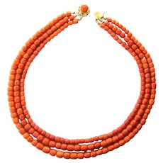 Antique natural untreated coral necklace circa 1880