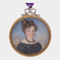 Antique Miniature painted portrait signed Autissier 1828 diamonds Gold Platinum Pendant / Brooch