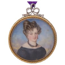 Antique Miniature painted portrait signed Autissier 1828 diamonds Gold Platinum Pendant / Brooch