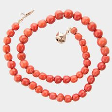 Antique untreated natural coral necklace barrel shape beads 11.4 mm - 8 mm