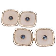 Antique Art Deco double sided cufflinks Sapphire Agate 14 k yellow gold