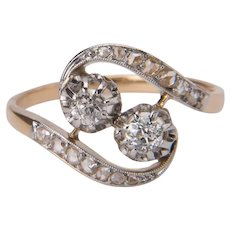 Art Nouveau diamond ring 18 k gold circa 1890-1900